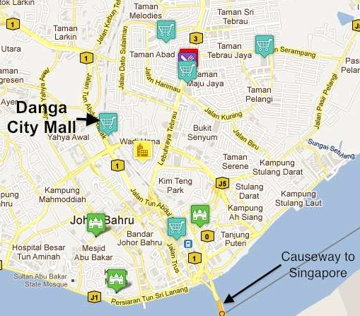 map of downtown johor bahru showing the danga city mall
