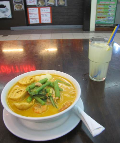 photo of Mee Bandung soup and lime juice
