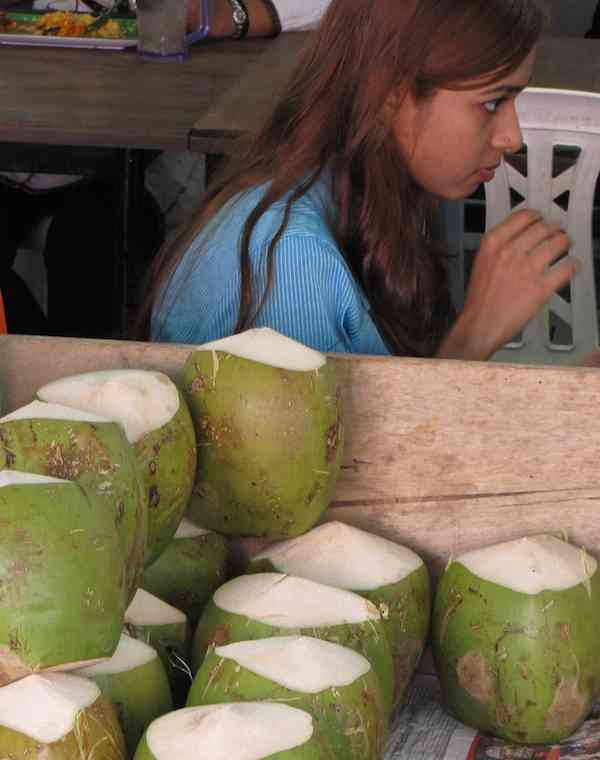 photo of green coconuts.