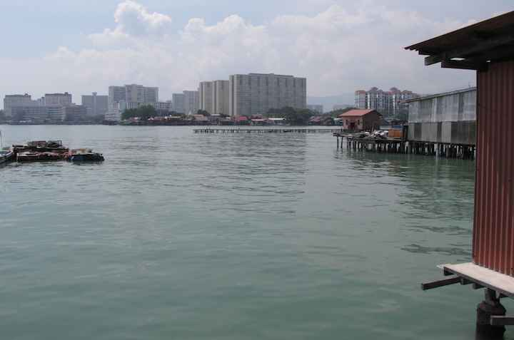 View from Penang Clan Jetty with modern highrises in the background