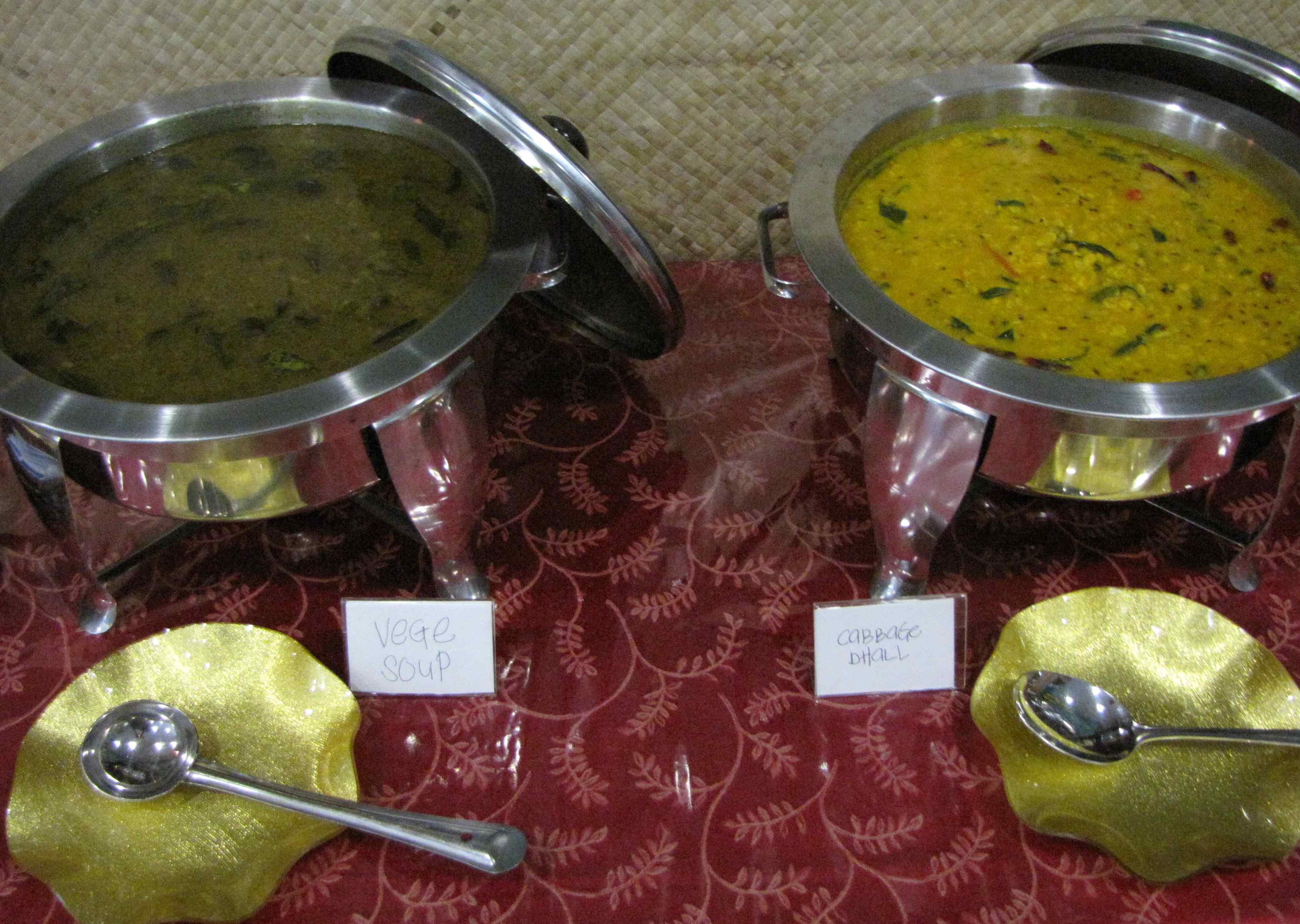 photo of Vegetable soup and cabbage daal at the buffet