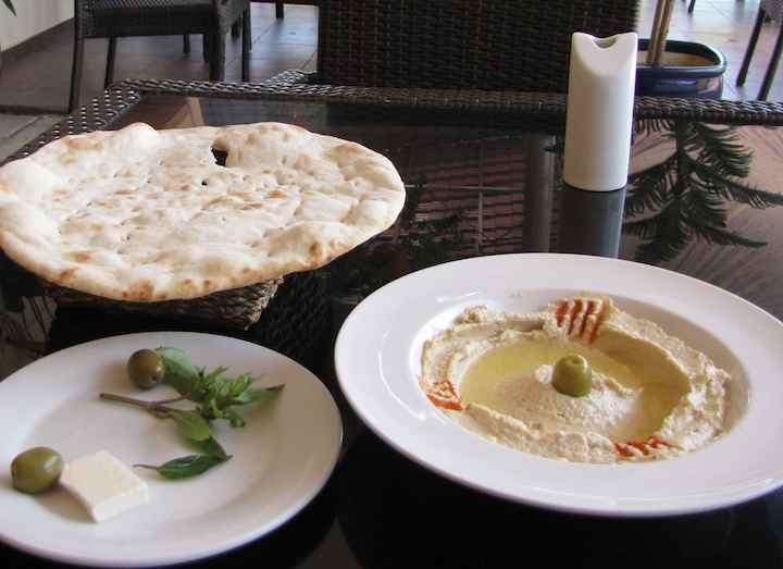 photo of humus and pita