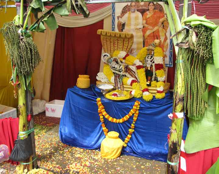 photo of a Hindu display with flowers