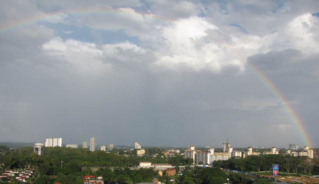 photo of large rainbow over JB