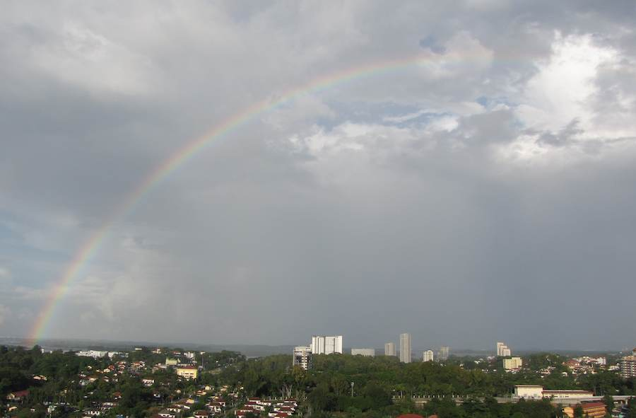 photo of rainbow over Johor Bahru CBD