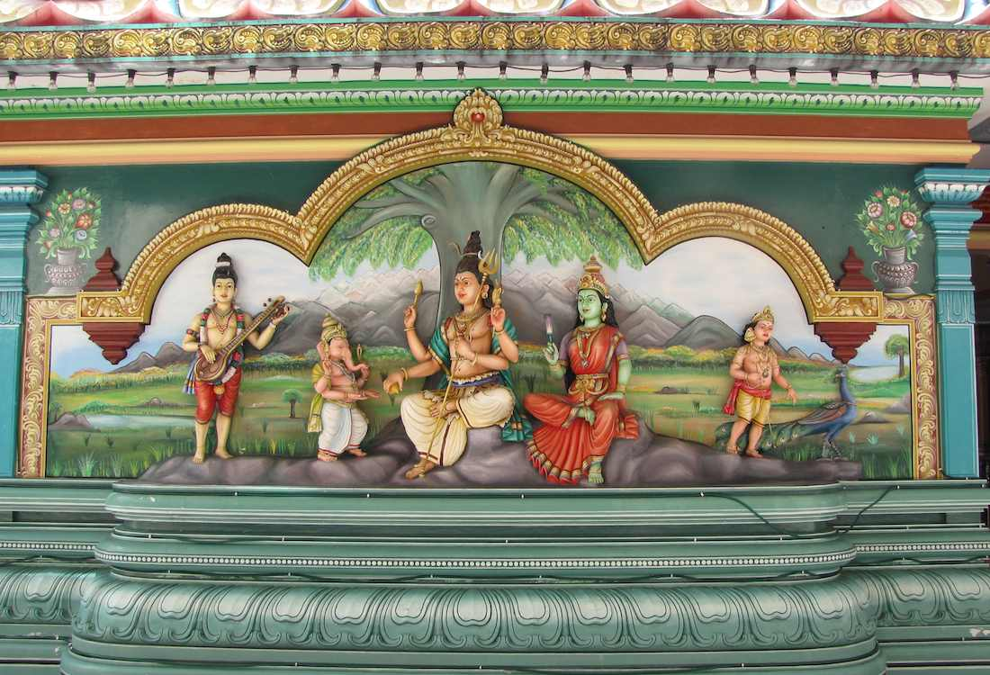 photo of painted relief in the Sri Mahamariamman Temple