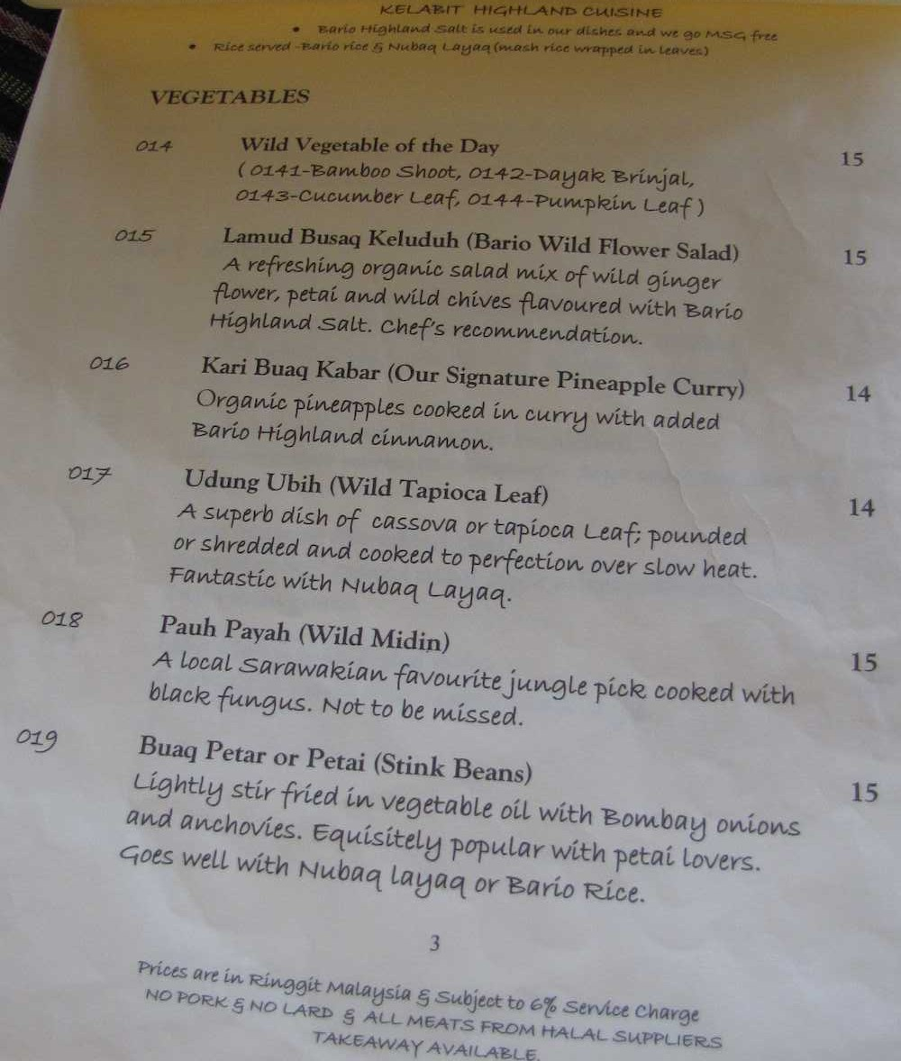 Menu - Tribal Stove, Kuching
