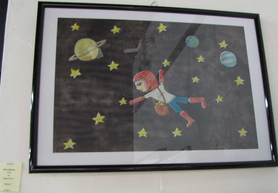 painting of a girl floating in space
