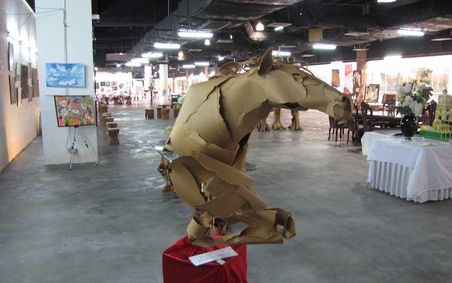 photo of cardboard horse