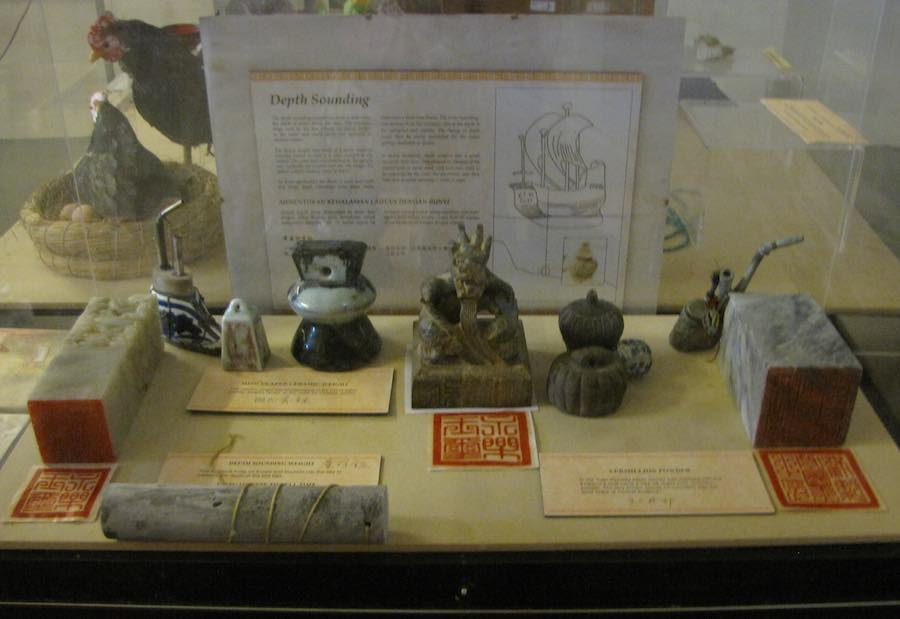 museum display including depth measuring instruments