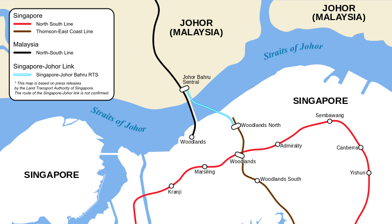 Map of proposed Singapore to Johor Bahur MRT