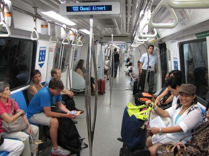 photo inside Singapore MRT train