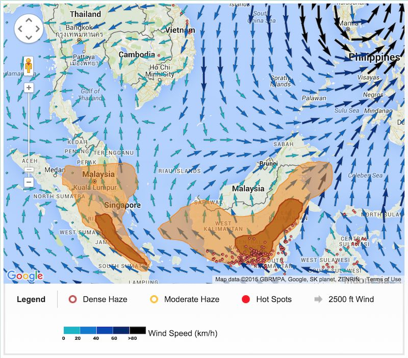 map of haze over Singapore and Malaysia