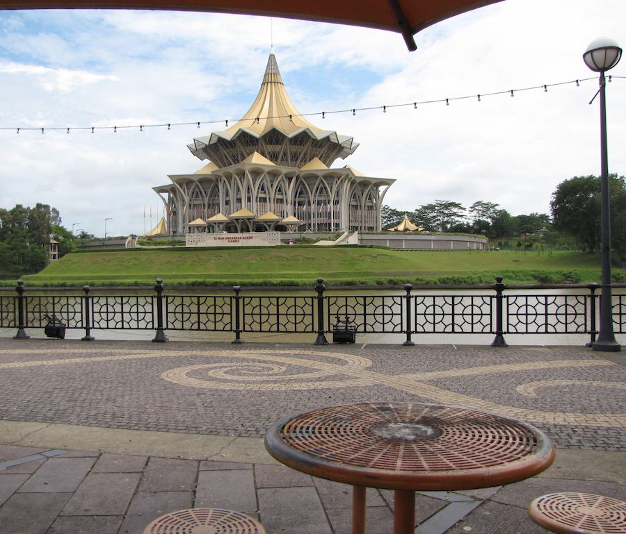 the Sarawak State Legislative Assembly building from the riverwalk